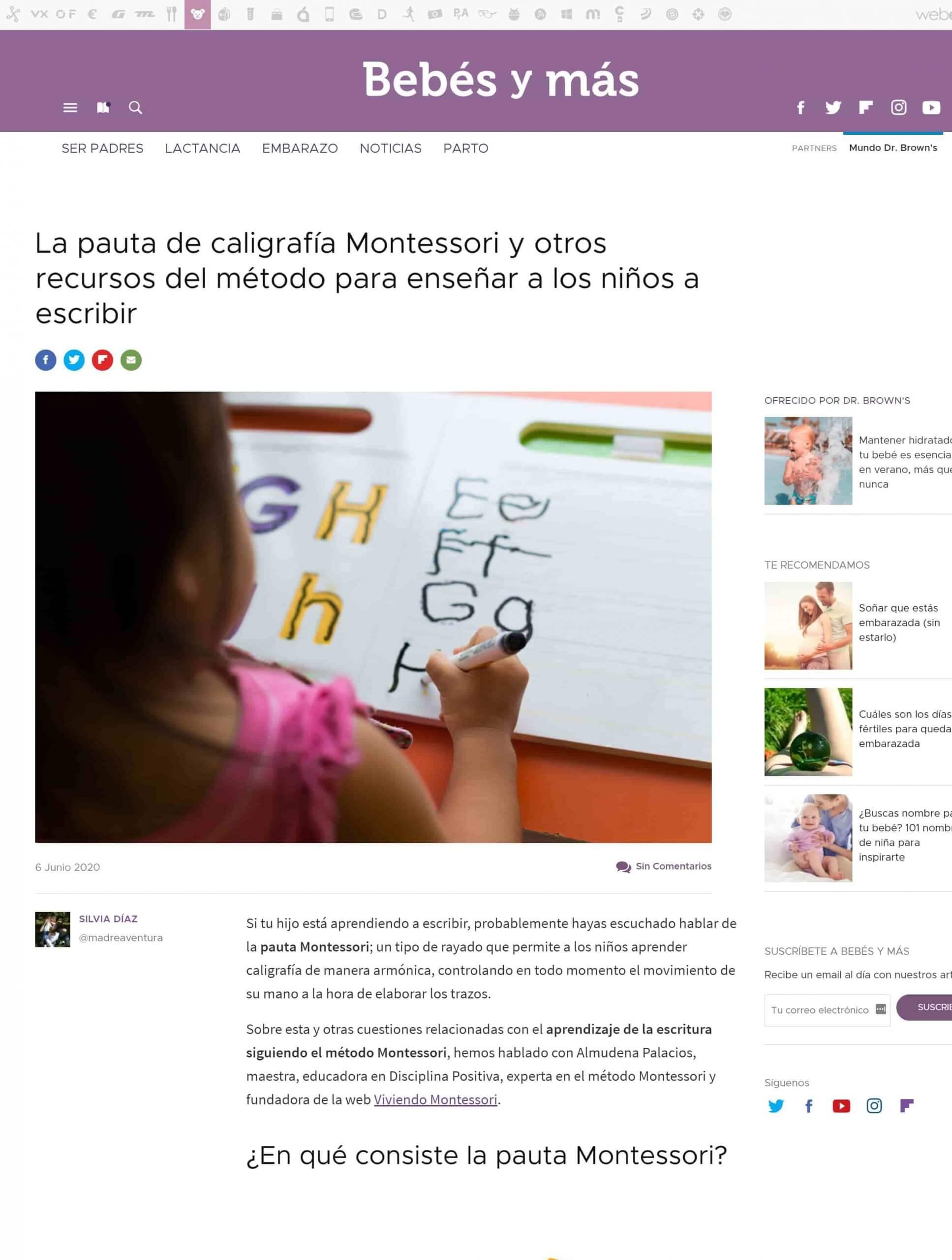 La pauta de caligrafía Montessori Almudena Palacios - Bebes y mas